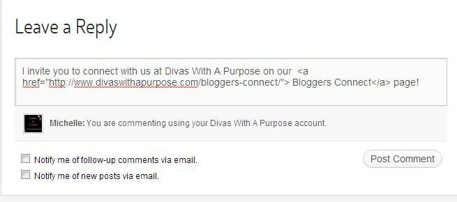 How to leave a link in a blog comment | Divas With A Purpose