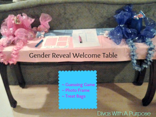 Gender Reveal Welcome Table