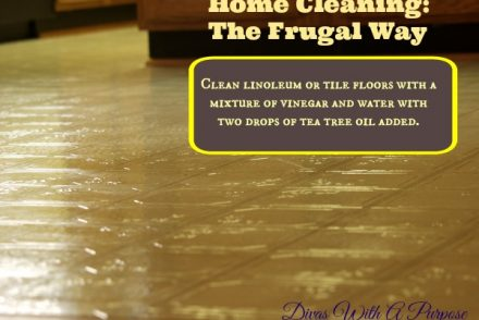 Home Cleaning The Frugal Way: Clean linoleum or tile floors with a mixture of vinegar and water with two drops of tea tree oil added.