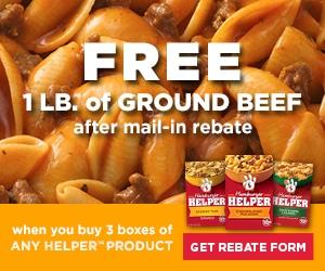 Free Ground Beef Rebate Form #helper #freebeef #ad