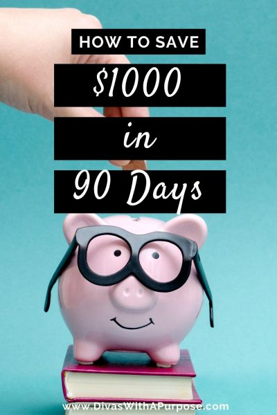 How to Save $1000 in 90 Days starting today with 7 simple actionable steps. The steps will help to begin focusing on your daily habits and create a savings mindset. #savingschallenge #howtosave