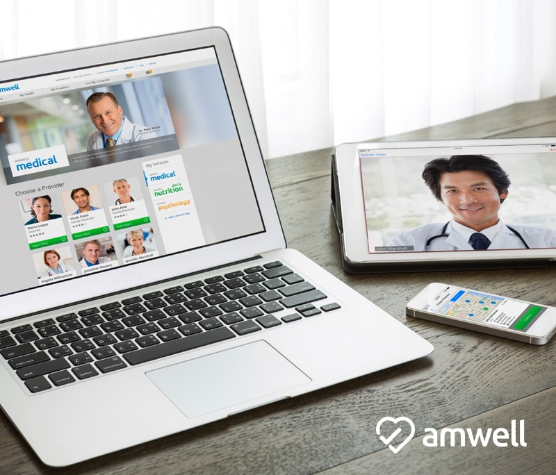You can use Amwell on your computer, tablet or smart phone