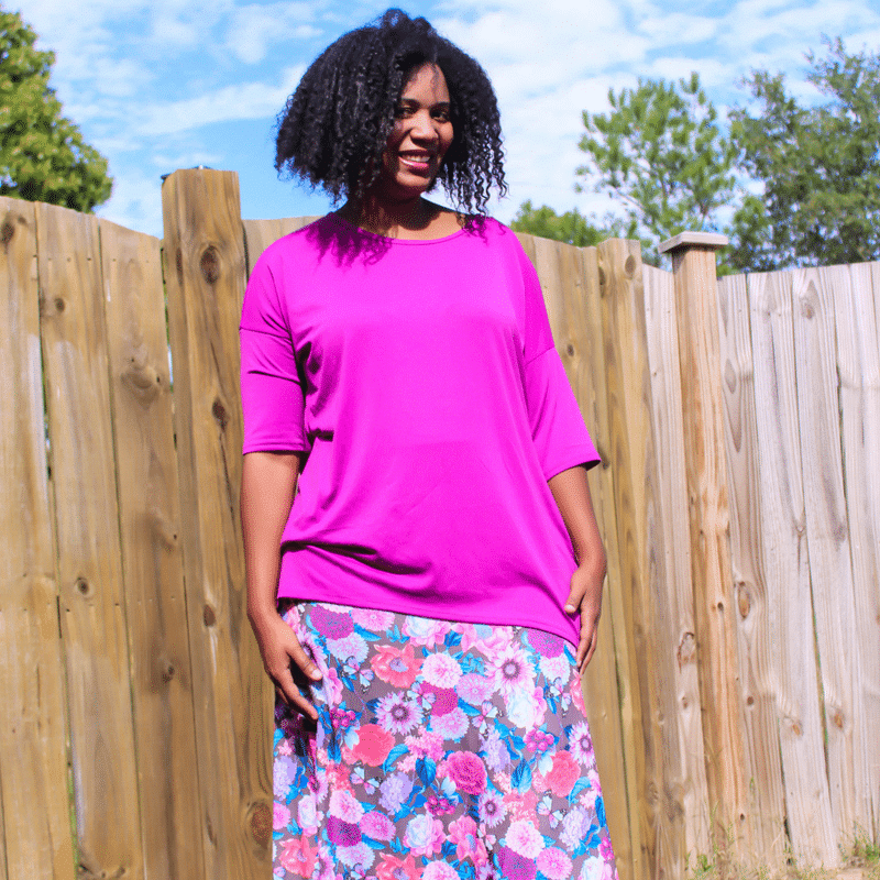Work From Home Fashion wearing the Lula Roe Perfect T and LulaRoe Maxi Skirt