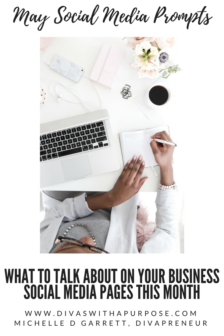 May Social Media Prompts: What to talk about on social media this month with your online community #bizboost #socialmedia