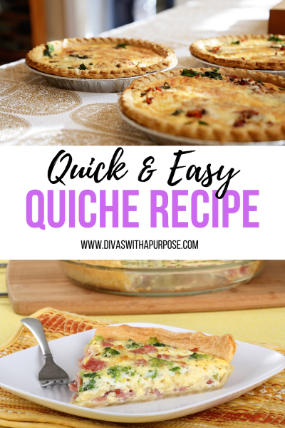 This quick and easy quiche recipe brings back fond memories of the dish my mother would make on Sunday mornings. #easyrecipes #quiche #brunchrecipes