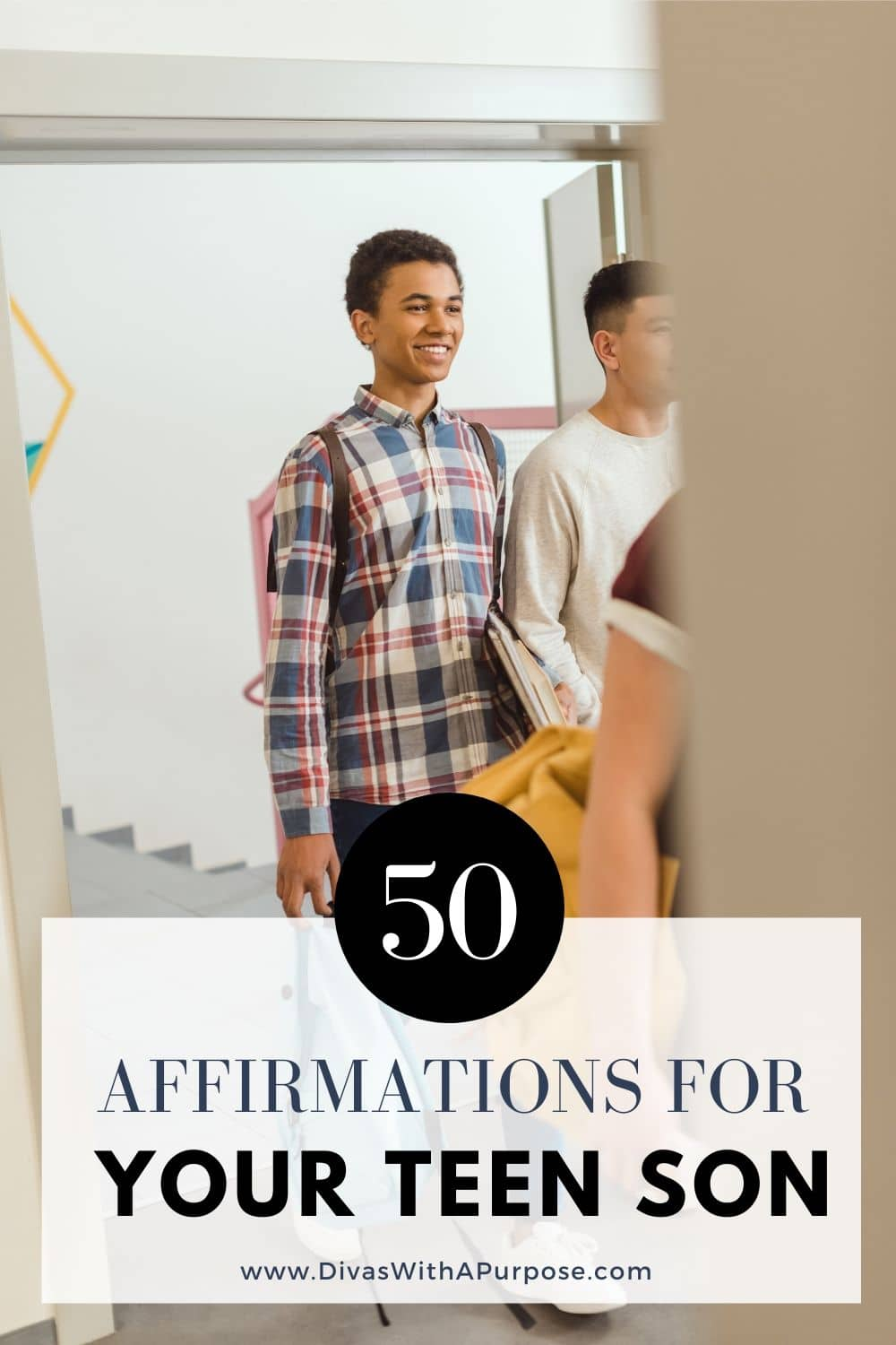 Here are 50 affirmations for our teenage sons' self-esteem. Often when we think of affirmations we focus on our daughters and ourselves, but they can make a big impact in the lives of everyone. #affirmations #teenagers #raisingsons