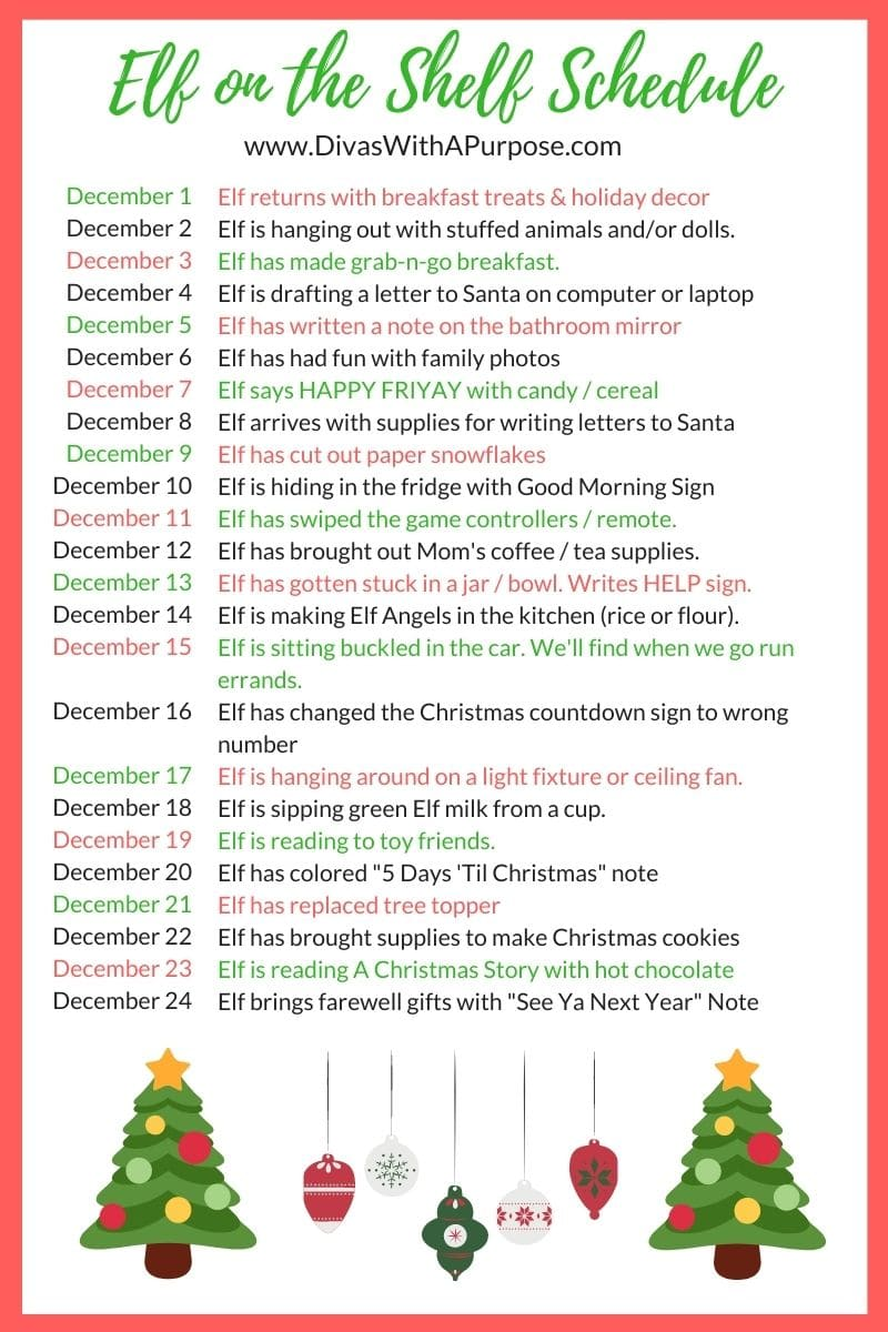 Here is a simple calender of 24 Elf of the Shelf ideas for the upcoming holiday season. A fun and easy way to bring some holiday shenanigans to your home. #elfontheshelf