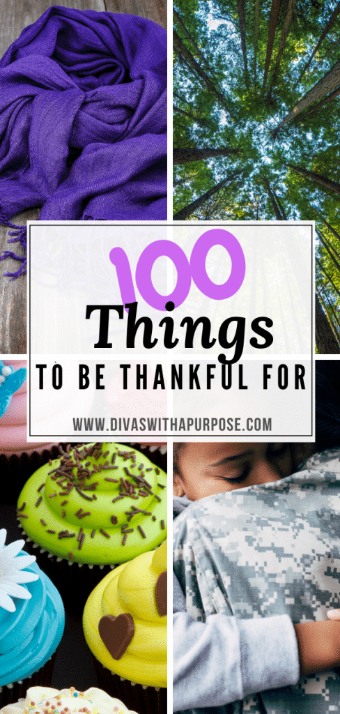 Here is a list of 100 everyday things to be thankful for. Did you know that practicing gratitude regularly is good for your health - physically and mentally? It is! It makes you happier. It helps you sleep better at night. Practicing gratitude gives you more energy, helps you relax and so much more. Gratitude is a habit that can impact many different areas of your life.  | Divas With A Purpose #gratitude #ThankfulThursday