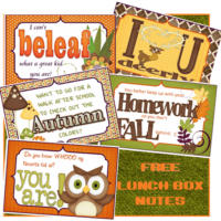 FREE: Fall and Autumn Lunchbox Notes!