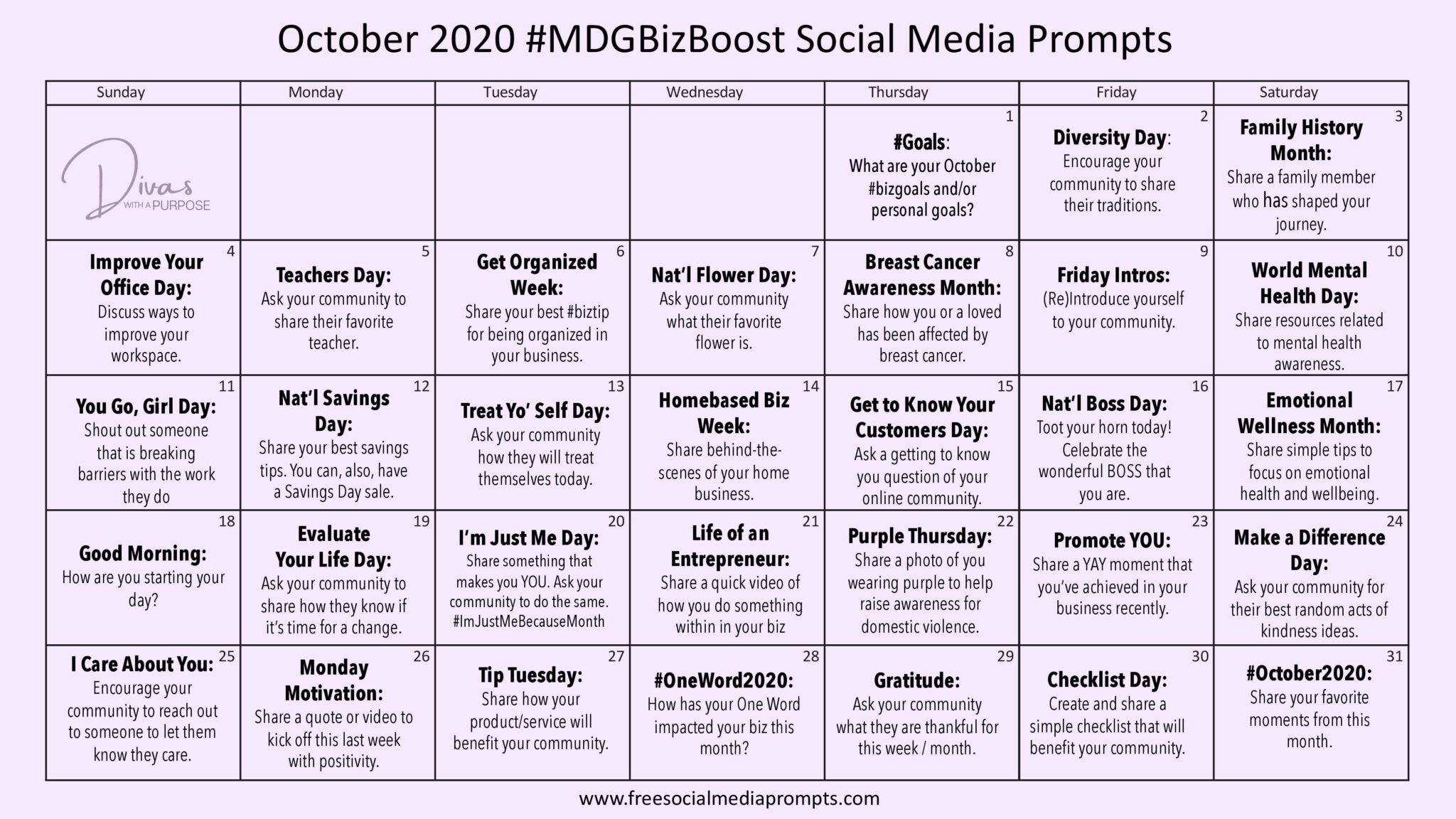 Here are October Social Media Prompts to help you show up consistently and prepare your social media content calendar for the month.