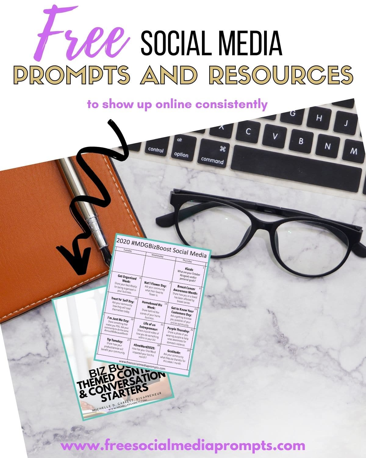 Sign up for my #MDGBizBoost newsletter and receive 30 days of social media prompts and resources to help plan your content.  www.freesocialmediaprompts.com